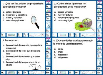 Propiedades de la Materias Properties of Matter Task Cards 5th grade
