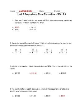 Proportion Final Formative VA SOL 7.4