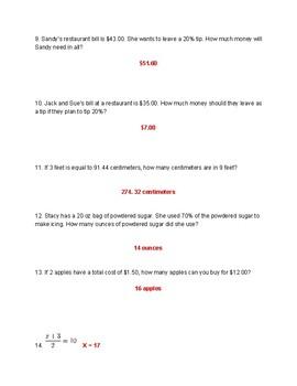 Proportion Study Guide VA SOL 7.4