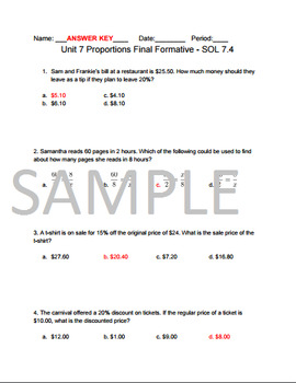 Proportion Study Guide and Final Formative.
