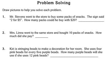 Proportion Word Problems, 3rd grade - Individualized Math - worksheets