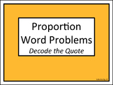 Proportion Word Problems: Decode the Quote
