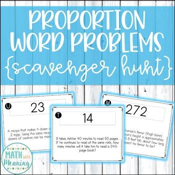 Proportion Word Problems Scavenger Hunt Activity