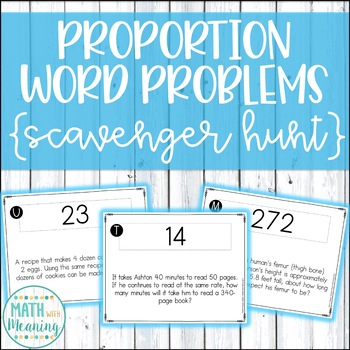 Proportion Word Problems Scavenger Hunt Activity