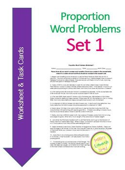 Proportion Word Problems Set 1 - worksheet and task cards