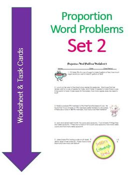 Proportion Word Problems Set 2 - Worksheet and task cards