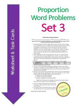 Proportion Word Problems Set 3 - Worksheet and Task Cards - MULTI-STEP