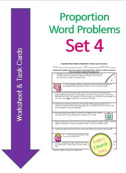 Proportion Word Problems Set 4 - D = RxT and $ Conversn Work Sheet & Task Cards
