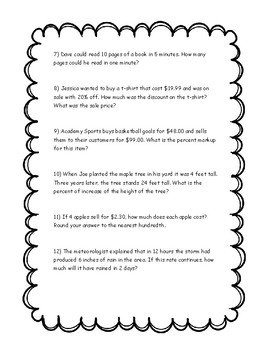 Proportion Word Problems - Use as Quiz, Practice, EOG Review with Answer Key