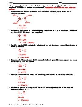 Proportion Word Problems Worksheet
