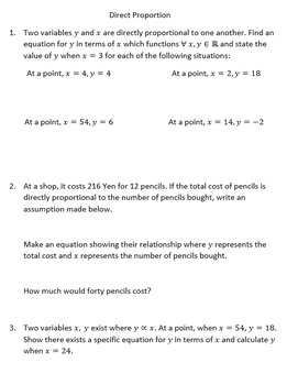 Proportion to Powers of a Variable PPT and Worksheets