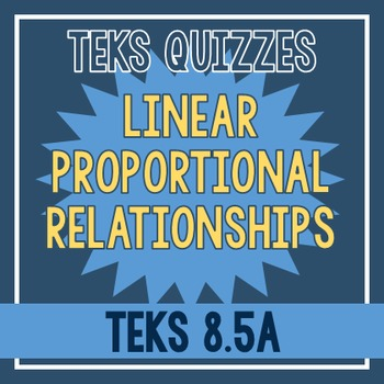 Proportional Linear Relationships Quiz (TEKS 8.5A)