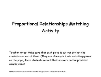Proportional Matching Activity