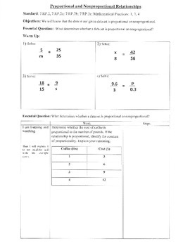 Proportional & Non-Proportional Relationships (7.RP.2;7.RP.2a;Math Pract.1,3,4))