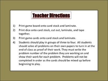 Proportional Persistence Board Game - Common Core Aligned