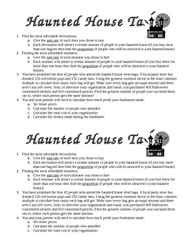 Proportional Reasoning- Haunted House Fundraiser