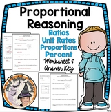 Proportional Reasoning Ratios Unit Rates Percents and Proportions Worksheet