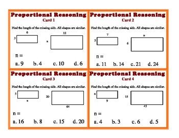 Proportional Reasoning Task Cards Corresponding Sides Geometry Ratio