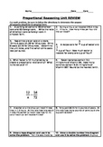 Proportional Reasoning Unit REVIEW
