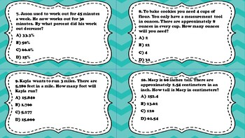 Proportional Reasoning and Measurement Conversion TEKS 7.4D and 7.4E
