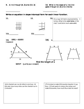 Proportional Reasoning and Slope Unit Review