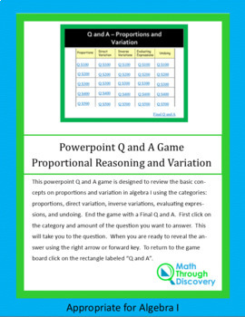 Powerpoint Q and A Game - Proportional Reasoning and Variation