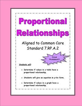 Proportional Relationships Worksheet