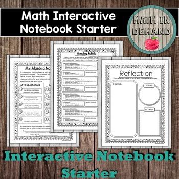 Math Interactive Notebook Starter - Algebra
