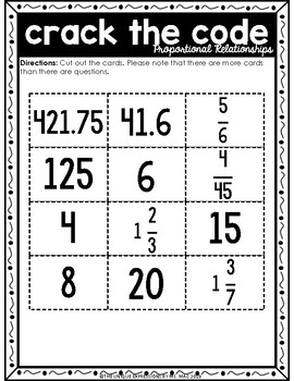 Proportional Relationships Activity: Crack the Code