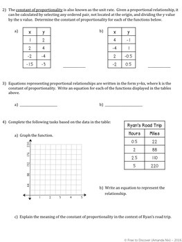 Proportional Relationships Discovery Worksheet by Free to Discover