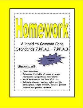 Proportional Relationships Homework