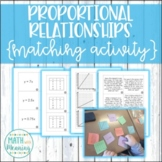 Proportional Relationships Matching Activity -Tables, Graphs, Equations, & Words