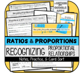 Proportional Relationships (Notes, Card Sort, Test Practice)