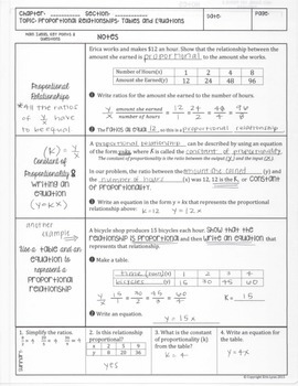 Proportional Relationships: Tables and Equations y=kx Notes 8.EE.5 8.F.4 Go Math