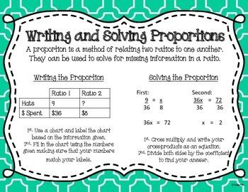 Proportional Relationships Task Card & Poster Set **7.RP.2