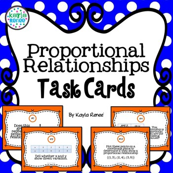Proportional Relationships Task Cards: 7.RP.2