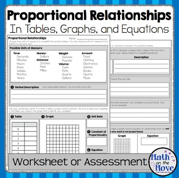 Proportional Relationships - Worksheet/Assessment (7.RP.2) by Math ...