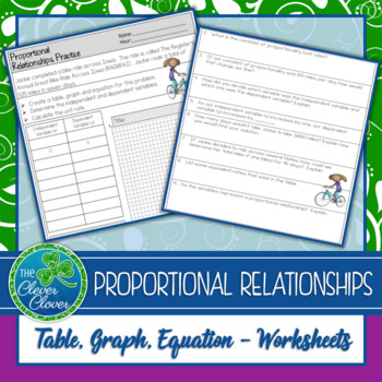 Proportional Relationships Worksheets By The Clever Clover Tpt