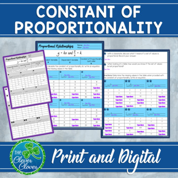Constant Of Proportionality Worksheet By The Clever Clover Tpt