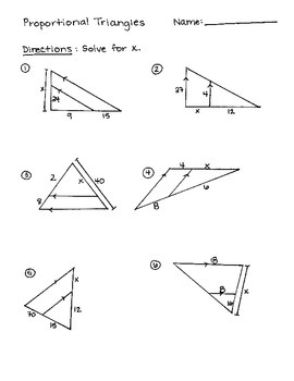 Proportional Triangles Practice