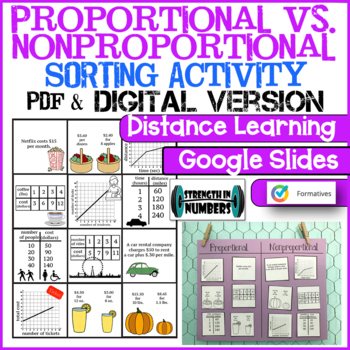 Proportional Nonproportional Relationships Sorting Activity Interactive Notebook
