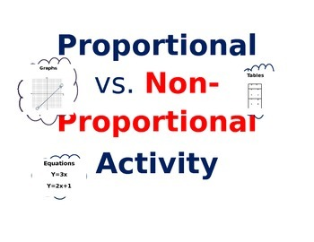 Proportional and Non-Proportional  Graphs, Tables, Equations Activity (TEK 8.5F)