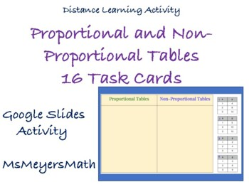 Proportional and Non-Proportional Tables