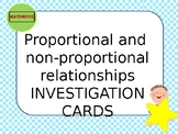 Proportional and non-proportional relationships Investigation cards