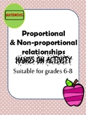 Proportional and non-proportional relationships task sheets