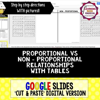 Proportional or Non-Proportional Relationship GOOGLE SLIDES 'Cut and Paste'