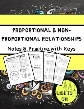 Proportional or Not Proportional Notes, Worksheet and Keys