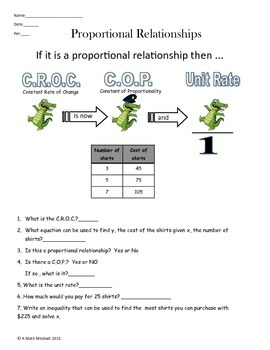 Proportional relationships, Constant Rate of Change, Const