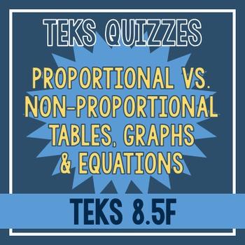 Proportional vs. Non-Proportional Tables, Graphs, & Equations Quiz (TEKS 8.5F)