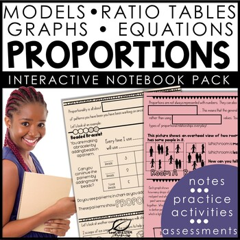 Proportions with Tables, Graphs, and Tape Diagrams Interactive Notebook Set